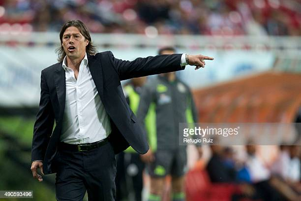 Matias Almeyda coach of Chivas gives instructions to his players during the 11th round match between Chivas and Monterrey as part of the Apertura...