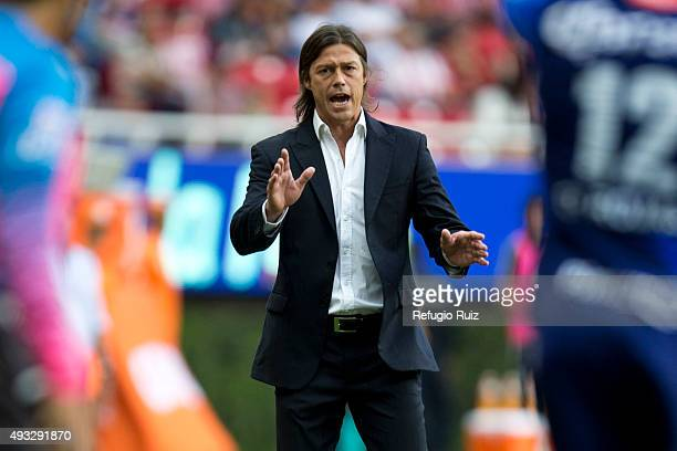 Matias Almeyda coach of Chivas gives instructions to his players during the 13th round match between Chivas and Puebla as part of the Apertura 2015...