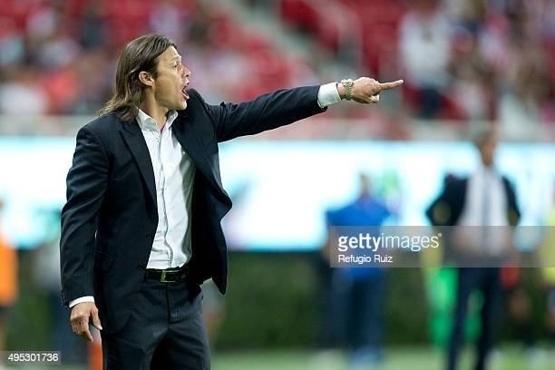 Matias Almeyda coach of Chivas gives instructions to his players during the 15th round match between Chivas and Pachuca as part of the Apertura 2015...
