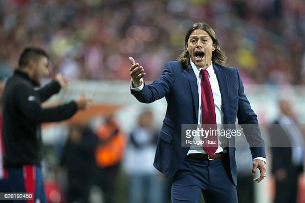 Matias Almeyda coach of Chivas gives instructions to his players during the quarter finals second leg match between Chivas and America as part of the...