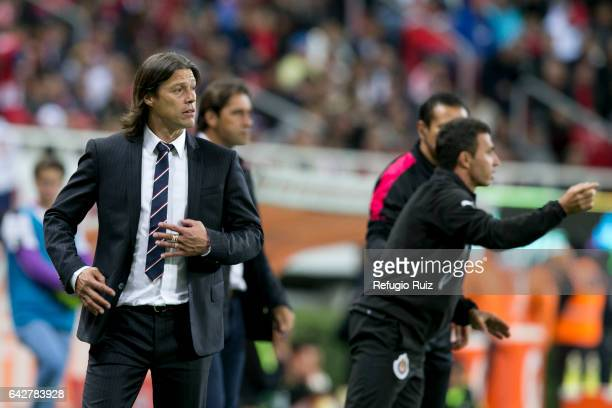 Matias Almeyda coach of Chivas gives instructions to his players during the 7th round match between Chivas and America as part of the Torneo Clausura...
