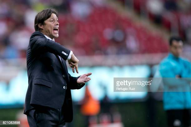 Matias Almeyda coach of Chivas gives instructions to his players during the 1st round match between Chivas and Toluca as part of the Torneo Apertura...