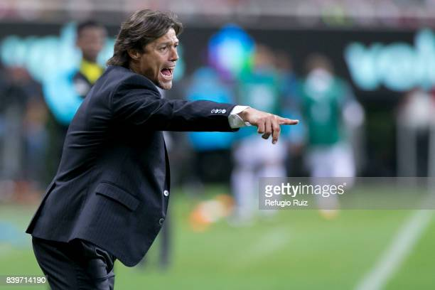 Matias Almeyda coach of Chivas gives instructions to his players during the seventh round match between Chivas and Queretaro as part of the Torneo...