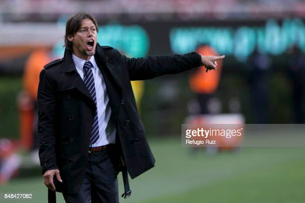 Matias Almeyda coach of Chivas gives instructions to his players during the 9th round match between Chivas and Pumas UNAM as part of the Torneo...