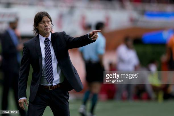Matias Almeyda coach of Chivas gives instructions to his players during the 11th round match between Chivas and Lobos BUAP as part of the Torneo...
