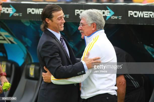Matias Almeyda coach of Chivas greets Ricardo 'Tuca' Ferretti coach of Tigres prior the 12th round match between Tigres UANL and Chivas as part of...