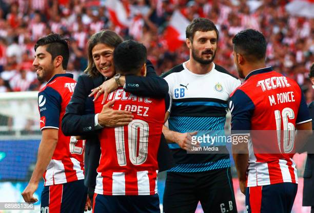 Matias Almeyda coach of Chivas hugs Javier Lopez to celebrate the championship after winning the Final second leg match between Chivas and Tigres...