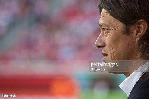 Matias Almeyda coach of Chivas looks on after the 17th round match between Chivas and Santos Laguna as part of the Apertura 2015 Liga MX at Omnilife...