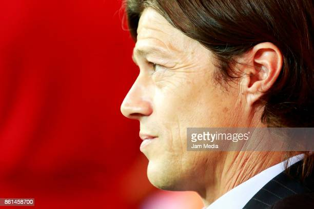 Matias Almeyda coach of Chivas looks on during the 13th round match between Chivas and Morelia as part of the Torneo Apertura 2017 Liga MX at...
