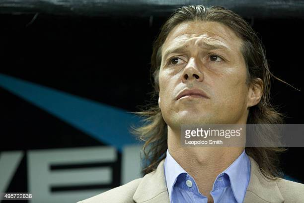 Matias Almeyda coach of Chivas looks on during the Final match between Leon and Chivas as part of the Copa MX Apertura 2015 at Leon Stadium on...