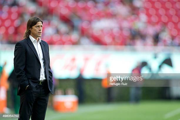 Matias Almeyda coach of Chivas looks the game during the 17th round match between Chivas and Santos Laguna as part of the Apertura 2015 Liga MX at...