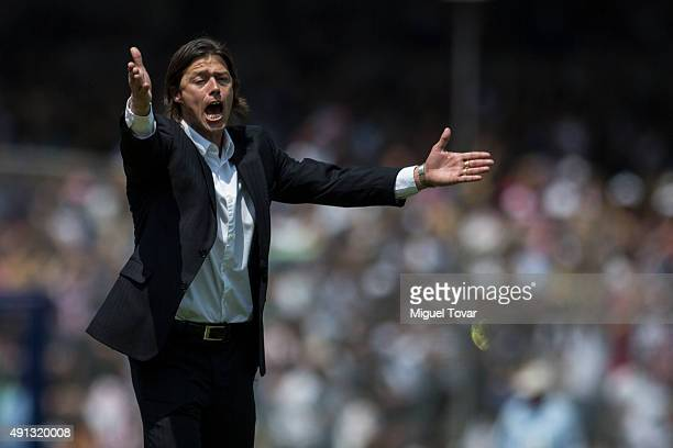 Matias Almeyda coach of Chivas reacts during the 12th round match between Pumas UNAM and Chivas as part of the Apertura 2015 Liga MX at Olimpico...
