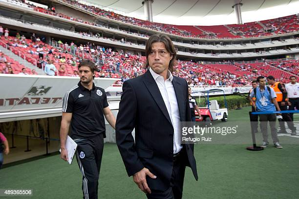 Matias Almeyda coach of Chivas walks onto the field prior to 9th round match between Chivas and Queretaro as part of the Apertura 2015 Liga MX at...