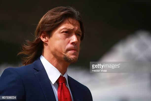Matias Almeyda head coach of Chivas looks on during the 9th round match between Toluca and Chivas as part of the Torneo Apertura 2016 Liga MX at...