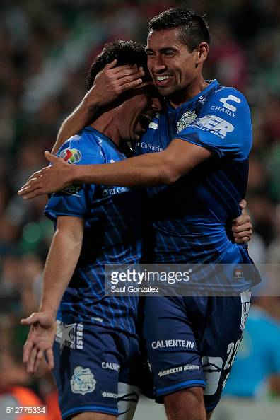 Matias Alustiza celebrates after scoring the first goal of his team during the 8th round match between Santos Laguna and Puebla as part of the...