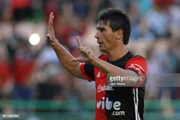 Matias Alustiza of Atlas celebrates after socoring his team's second goal during the 1st round match between Leon and Atlas as part of the Torneo...