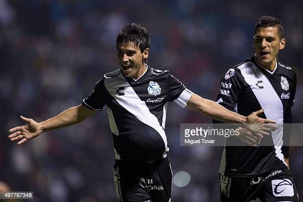 Matias Alustiza of Puebla celebrates after scoring the first goal of his team during the opening friendly match between Puebla and Boca Juniors at...