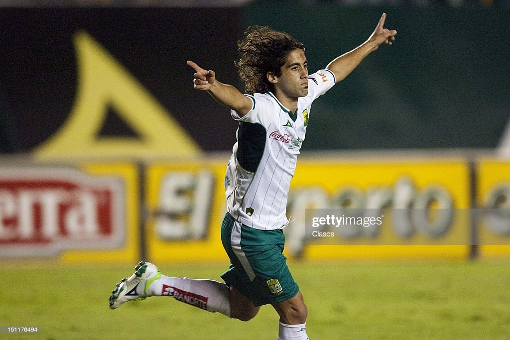 Matias Britos of Leon celebrates a goal during a match between San Luis and Leon as part of the Torneo Apertura 2012 at Alfonso Lastras Stadium on 1...