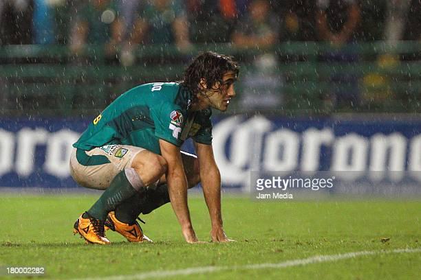 Matias Britos of Leon reacts during a match between Leon and Jaguares as part of the Apertura 2013 Liga Bancomer MX at Nou Camp Stadium on september...