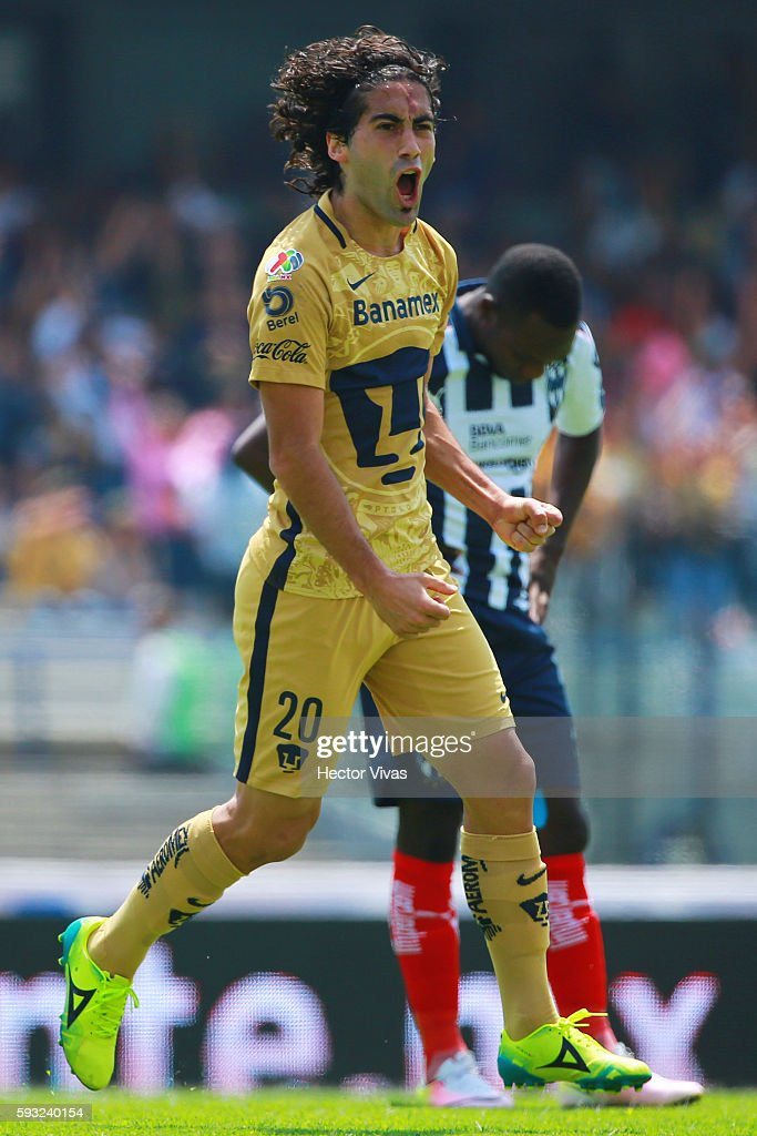 Matias Britos of Pumas celebrates after scoring the second goal of his team during the 6th round match between Pumas UNAM and Monterrey as part of...