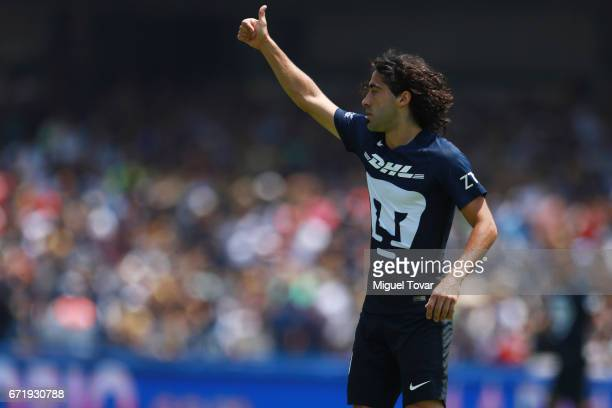 Matias Britos of Pumas gestures during the 15th round match between Pumas UNAM and Veracruz as part of the Torneo Clausura 2017 Liga MX at Olimpico...