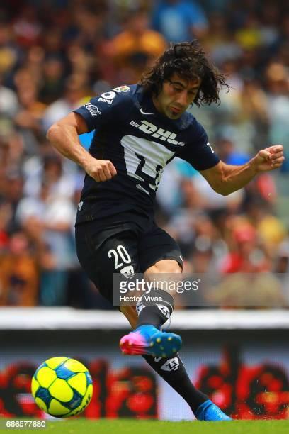 Matias Britos of Pumas kicks the ball during the 13th round match between Pumas UNAM and Toluca as part of the Torneo Clausura 2017 Liga MX at...