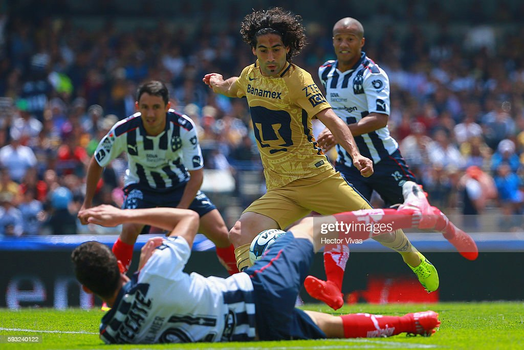 Matias Britos of Pumas scores the second goal of his team during the 6th round match between Pumas UNAM and Monterrey as part of the Torneo Apertura...
