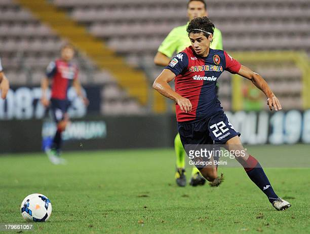 Matias Cabrera of Cagliari in action during the Serie A match between Cagliari Calcio and Atalanta BC at Stadio Nereo Rocco on August 25 2013 in...