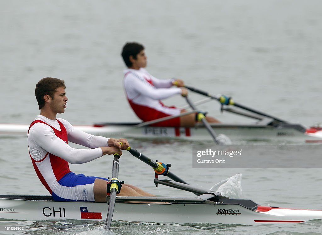 Matias Carrillo of Chile competes during the Men's Single Scull Play Off as part of the I ODESUR South American Youth Games at Pista de Regatas Cantolao on September 23, 2013 in Lima, Peru.