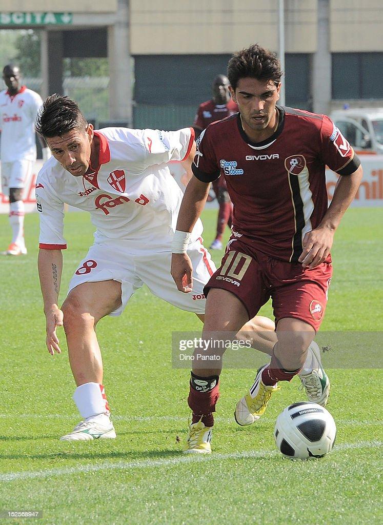 Matias Claudio Cuffa (L) of Padova competes with Nicolas Viola of Reggina during the Serie B match between Calcio Padova and Reggina Calcio at Stadio Euganeo on September 22, 2012 in Padova, Italy.