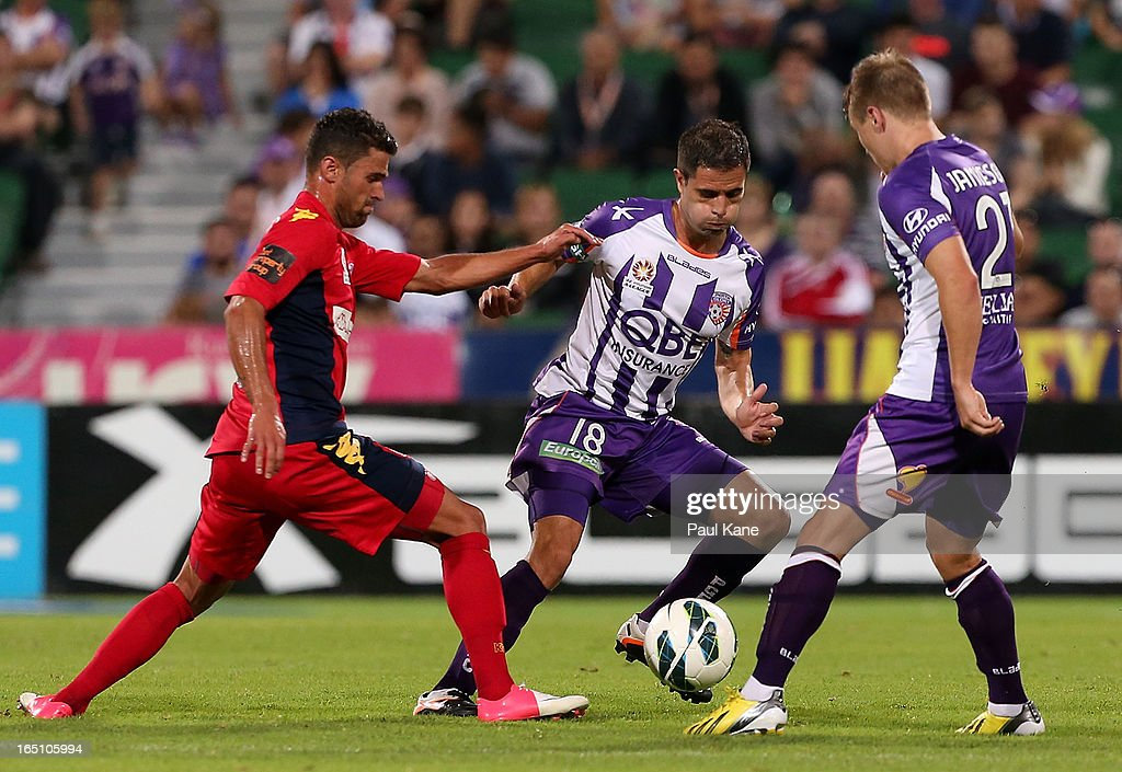 Matias Cordoba of the Glory passes the ball opposed to Fabio Ferreira of Adelaide during the round twenty seven A-League match between Perth Glory and Adelaide United at nib Stadium on March 30, 2013 in Perth, Australia.
