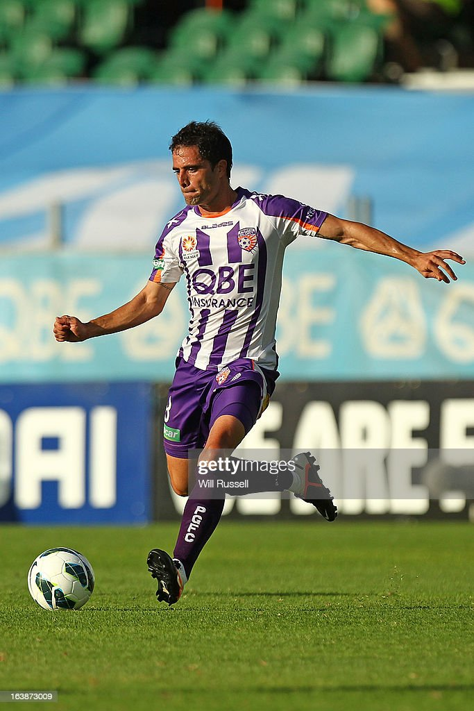Matias Cordoba of the Perth Glory controls the ball during the round 25 A-League match between the Perth Glory and the Wellington Phoenix at nib Stadium on March 17, 2013 in Perth, Australia.