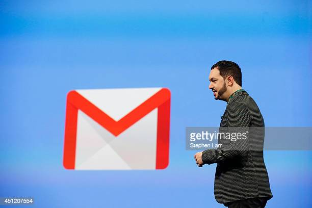 Matias Durante Vice President Design at Google speaks on stage during the Google I/O Developers Conference at Moscone Center on June 25 2014 in San...