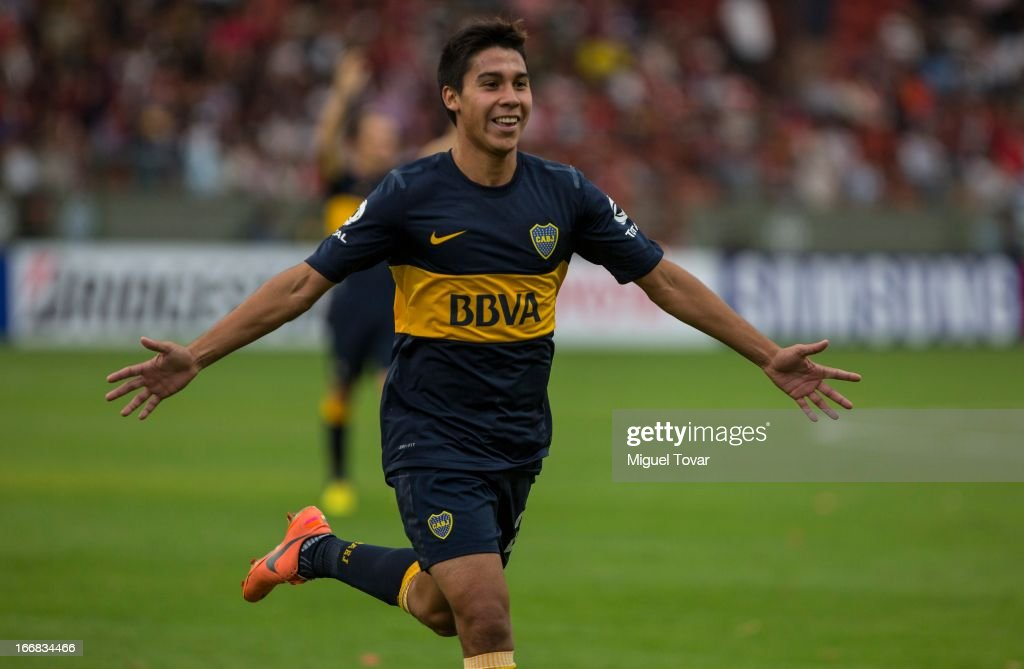 Mat'ias Fern‡andez of Boca Jrs celebrates after scoring during the match between Toluca from Mexico and Boca Jrs from Argentina as part of the Copa Bridgestone Libertadores 2013 at Nemesio Diez Stadium on April 17, 2013 in Toluca.