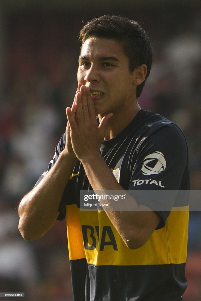 Mati'as Fern‡andez of Boca Jrs gestures during the match between Toluca from Mexico and Boca Jrs from Argentina as part of the Copa Bridgestone Libertadores 2013 at Nemesio Diez Stadium on April 17, 2013 in Toluca.