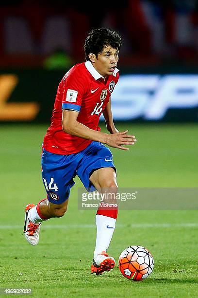 Matias Fernandez of Chile drives the ball during a match between Chile and Colombia as part of FIFA 2018 World Cup Qualifiers at Nacional Stadium on...