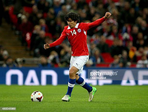 Matias Fernandez of Chile in action during the international friendly match between England and Chile at Wembley Stadium on November 15 2013 in...