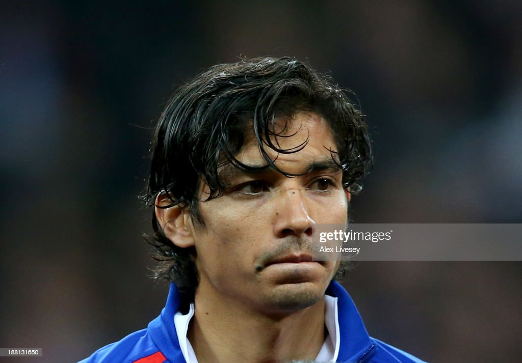 Matias Fernandez of Chile looks on prior to the international friendly match between England and Chile at Wembley Stadium on November 15 2013 in...