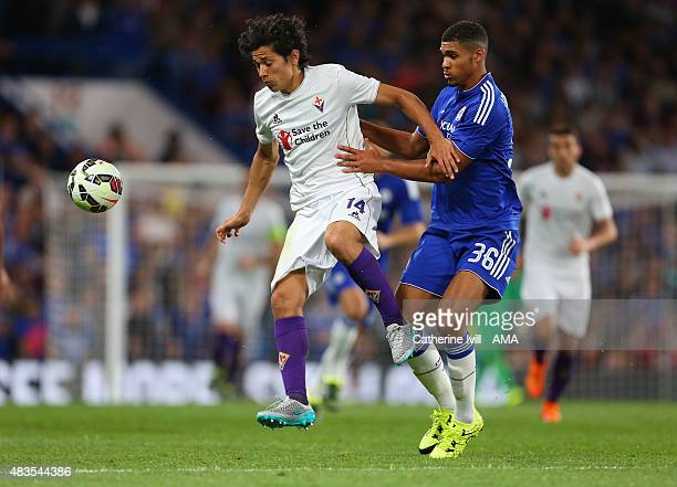 Matias Fernandez of Fiorentina and Ruben LoftusCheek of Chelsea during the preseason friendly between Chelsea and Fiorentina at Stamford Bridge on...