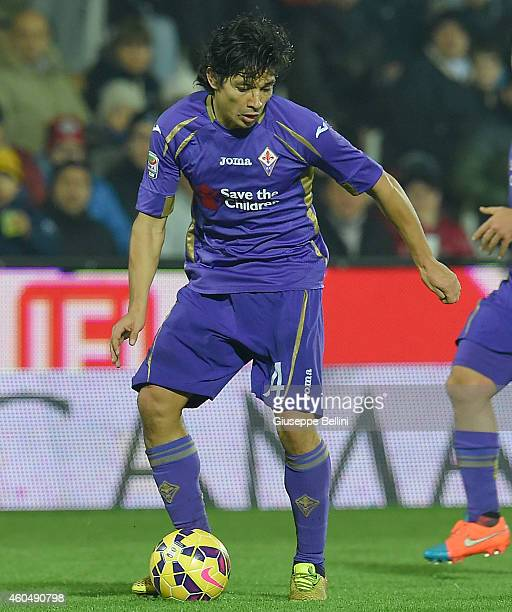 Matias Fernandez of Fiorentina in action during the Serie A match between AC Cesena and ACF Fiorentina at Dino Manuzzi Stadium on December 14 2014 in...