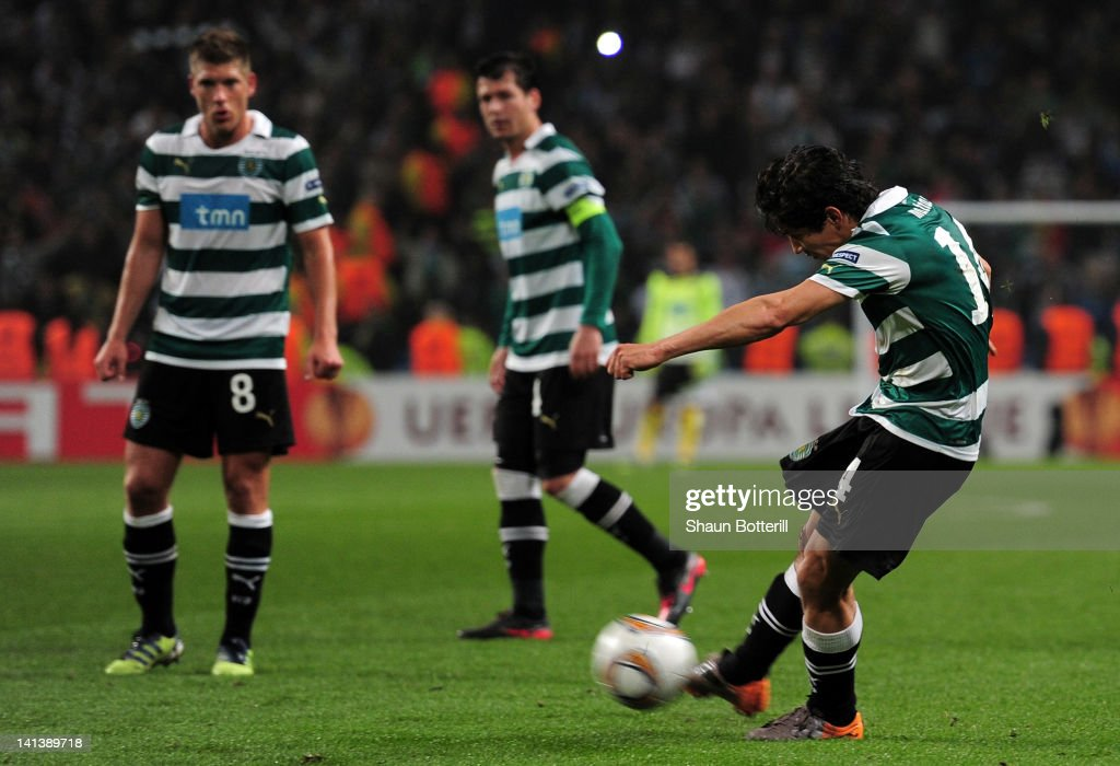 Matias Fernandez of Sporting Lisbon scores the opening goal during the UEFA Europa League round of 16 second leg match between Manchester City FC and...