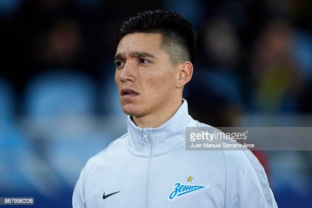 Matias Kranevitter of of Zenit St Petersburg looks on prior to the start the UEFA Europa League group L football match between Real Sociedad de...