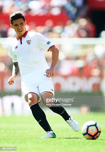 Matias Kranevitter of Sevilla FC in action during the La Liga match between Sevilla FC and Real Sporting de Gijon at Estadio Ramon Sanchez Pizjuan on...