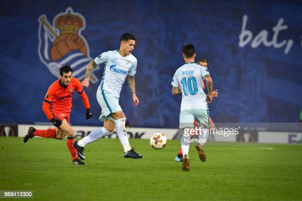 Matias Kranevitter of Zenit reacts Juanmi of Real Sociedad during the UEFA Europa League Group L football match between Real Sociedad and Zenit at...