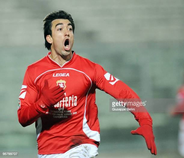 Matias Miramontes of AC Ancona celebrates the goal during the Serie B match between AC Ancona and US Lecce at Del Conero Stadium on January 15 2010...