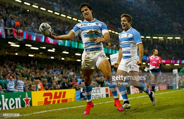 Matias Moroni of Aargentina celebrates after scoring the opening try during the 2015 Rugby World Cup Quarter Final match between Ireland and...