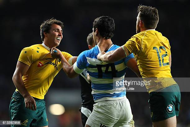 Matias Moroni of Argentina clashes with Nick Phipps of Australia during The Rugby Championship match between Argentina and Australia at Twickenham...