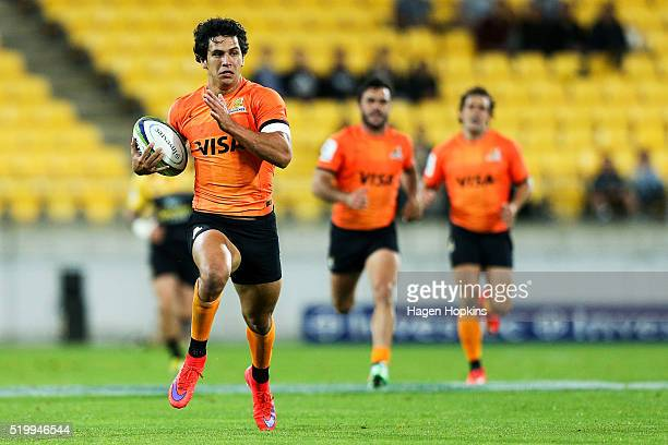 Matias Moroni of the Jaguares breaks away for a try during the round seven Super Rugby match between the Hurricanes and the Jaguares at Westpac...