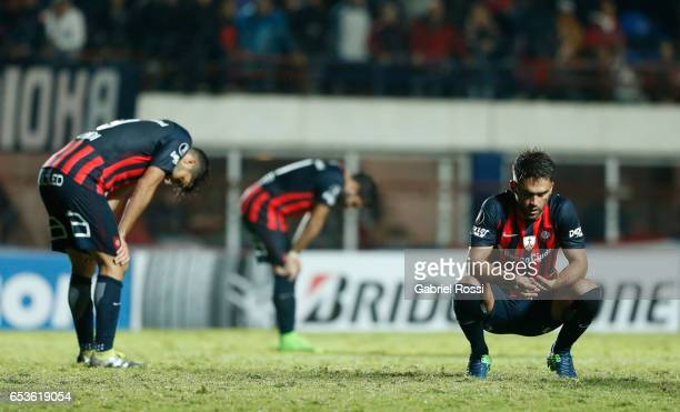 Matias Nicolas Caruzzo of San Lorenzo looks dejected after finishing the group stage match between San Lorenzo and Atletico Paranaense as part of...