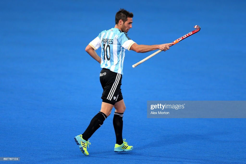 Matias Paredes of Argentina celebrates after scoring his team's fourth goal during the Pool A match between Argentina and China on day five of Hero Hockey World League Semi-Final at Lee Valley Hockey and Tennis Centre on June 19, 2017 in London, England.